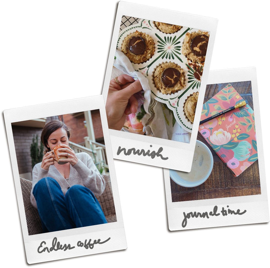 """Three Poloroid photos labeled """"Endless coffee,"""" """"Nourish"""" and """"Journal Time"""""""